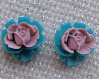 Blue and Purple Rose Resin Earrings