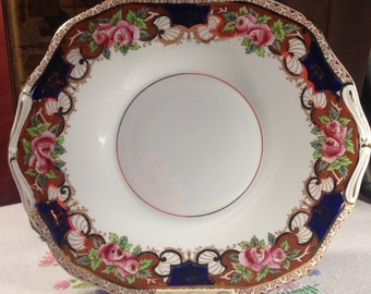 Osborne Bone China Vintage Cake Plate, Rose Pattern Vintage Cake Plate, Preston & Sons Cake Plate, Sandwich Plate