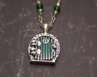 Home in the Shire - Locket Pendant with Crystal Beads