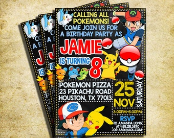 Pokemon Invitation - Pokemon Chalkboard Birthday Invite - Pokémon Invitation - Printable And Digital File