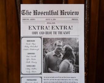 CUSTOM wedding newspaper program