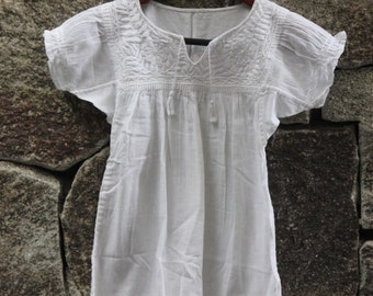 Hand embroidered dress for girls, size 3, white