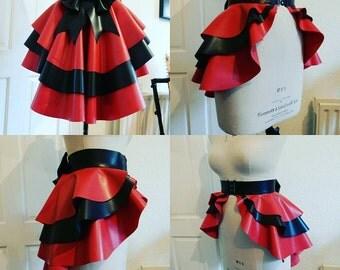 Triple layed contrast latex peplum skirt