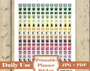 DAILY ICON Planner Stickers Set 1– 192 Printable Planner Stickers for Daily Activity Erin Condren Happy Planner Functional Stickers DOWNLOAD