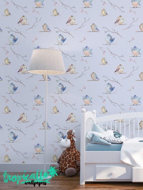 Watercolor Birds Wallpaper Removable Wallpapers Nursery
