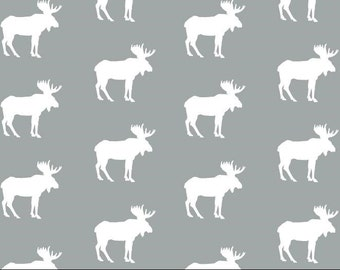Moose Minky - Gray Moose Minky - Moose Fabric- Hunting Fabric - Woodlands Minky - Animal Fabric- Ships out in 1-2 Days