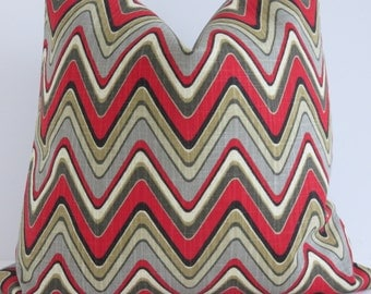 chevron grey red decorative pillow covers zig zag pillow cover red gray yellow brown