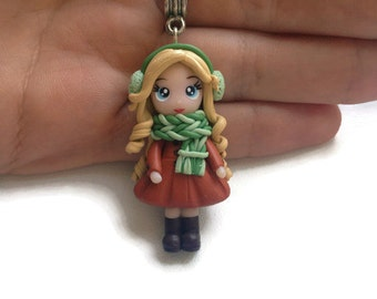 Clay dolls Miniature pendant Fimo dolls Girl in scarf Autumn necklace Fimo necklace doll Doll pendant Polymer doll pendant Gifts
