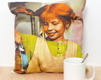 Pippi Longstocking Pillow Cover. Decorative pillow. Organic Cotton pillow. Insert not included. Feminist