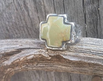 Handmade Man's Ring, Sterling Silver, Green Stone, Size 9.5 - 10