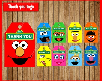 Sesame Street thank you tags instant download, Printable Sesame Street party tags, Elmo thank you tags