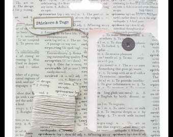 Tags Stickers and Twine Set Dictionary Print