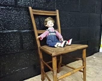 Decorative antique oak & rattan chair