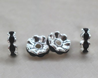 100 pcs Crystal Rhinestone Silver Plated Copper beads,Silver plated rondelle spacer beads,6/8/10/12mm