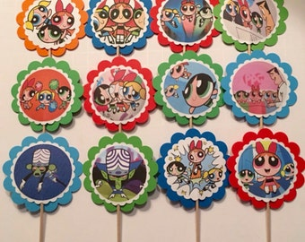 12 Powerpuff Girls birthday decorations, Powerpuff Girls cupcake toppers OR party tags, Powerpuff Girls party favors