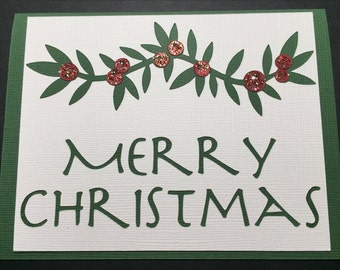 Christmas Card, Merry Christmas, Holly Berry Card, Handmade Christmas Card, Modern Christmas Card, Graphic Design Christmas Card, Green Card