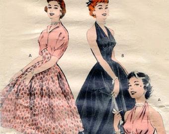 1950s Vintage Sewing Pattern B32 HALTER-NECK DRESS & Bolero Jacket (R789) Butterick 6993