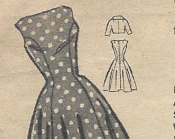 """1950s Vintage Sewing Pattern B30 1/2"""" DRESS & JACKET (R300) Printed Pattern 9139"""