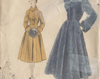 1952 Vintage VOGUE Sewing Pattern B38 COAT (1069)  Vogue S-4348