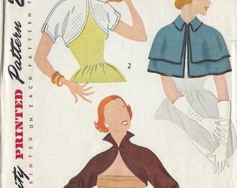1951 Vintage Sewing Pattern B34 CAPE & BOLERO (R856)  Simplicity 3606
