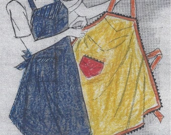 1943 Vintage Sewing Pattern APRON ONE SIZE (R47) The American Thread Company
