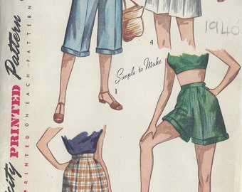 1949 Vintage Sewing Pattern W28 PEDAL PUSHERS & SHORTS (R823) Simplicity 2853