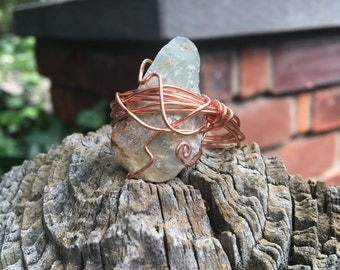 Wire wrapped, light blue stone statement ring