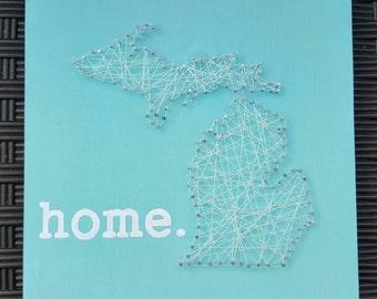Michigan Home, nail string art