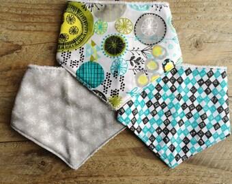 Baby bib set, baby bandana bib, drool bib, teething bib, dribble bib, baby bandana scarf, baby shower gift, cotton & terry towel bib, bib
