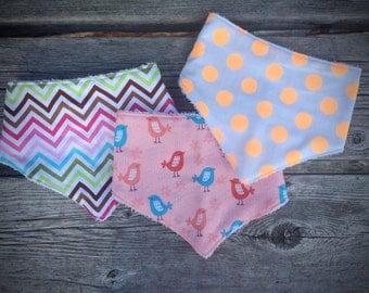 Baby bib set, baby bandana bib, drool bib, teething bib, dribble bib, cotton & terry towel bib, baby shower gift, baby bandana scarf bib