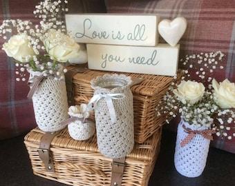 Crochet jar cover wedding  centerpiece/vase cover