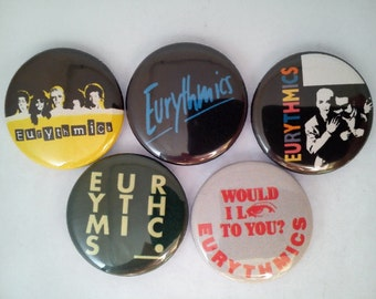 "5 x Eurythmics 1"" Pin Button Badges ( annie lennox david steward sweet dreams )"