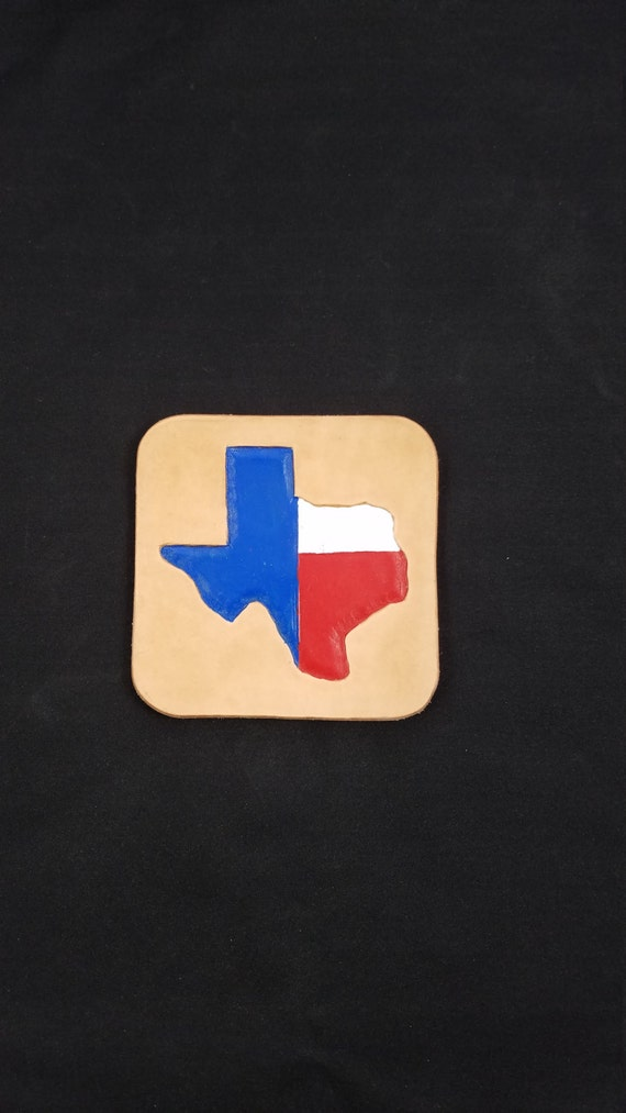 """SET of 4 COASTERS - 4"""" Rounded Square - TEXAS Painted"""