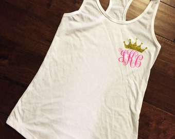Crown & Monogram Tank Top! Perfect for the Pageant Girl, Titleholder or Princess!