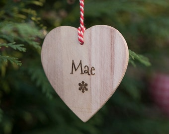Personalised Wooden Heart Decoration- Heart Gift Tag- Christmas Heart Tree Decoration