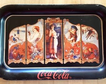"Coca-Cola ""Four Seasons"" metal tray - 1990 - Coca Cola tray - Coke tray"