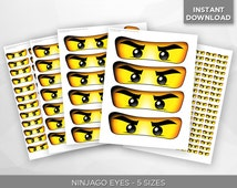 SALE - 80% OFF Ninjago Eyes Sticker Labels - Balloon, Lollipop, Favor Bags, Cups - Birthday Party Decoration- 5 Sizes - Instant Download