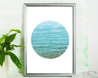 Water, Lake, Beach, Sea, Blue, Turquoise, Texture, Circle, Modern, Art print, Home decor, Circle art, Beach art, Modern art, Printable