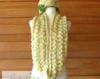 Daffodils Infinity Scarf and Hat / Handmade Crochet / Women's Gift Idea / Butterfly / Cowl / Hairpin Lace / Yellow / Green / White