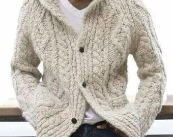 Knit Geometric Cardigan Sweater - Mens Medium M  Off  white  / Beige  .kiniting cardigan .Handmade