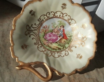 "Vintage Lefton China 6"" Candy/Nut Dish, Hand Painted"
