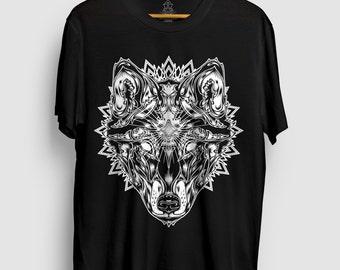 Plane Syght - Wolf Totem T - Wolf T-Shirt, Sacred Geometry Shirt, Mandala Tshirt