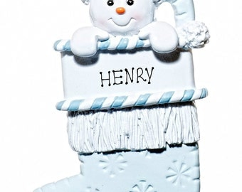 Personalized Ornament-Baby Boy Stocking Blue Snowman-Free Gift Bag Included