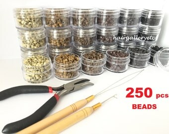 Feather Hair Extension Tool Kit 250 Silicone Micro Beads Rings Hair Extension Tools Tool Kit Pliers Hook Loop USA