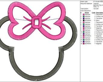 Minnie Mouse Applique Machine Embroidery Design