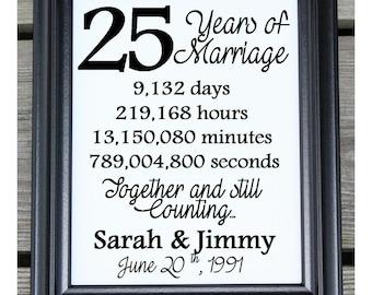 25th wedding anniversary cotton print 25th wedding gift 25 years together 25 years - 25th Wedding Anniversary Gifts