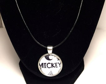 Mickey Pendant Black and White Pendant Disney Necklace Mickey Mouse Necklace Disney Accessories Mickey Mouse Accessories