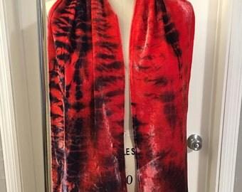Red & Blue Silk Velvet Shibori Scarf