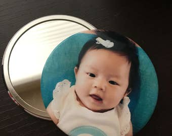 FREE SHIPPING // 3 inch Custom Personalized Photo Button Mirror