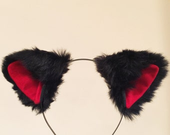 Cat ears Kitty Headwear Black/ Red inside  Furry Animal Headband Costume Bow Bells